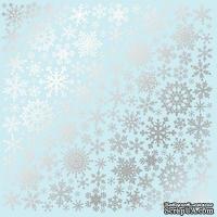 Лист односторонней бумаги с фольгированием Silver Snowflakes Blue, ТМ Fabrika Decoru