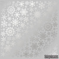 Лист односторонней бумаги с фольгированием Silver Snowflakes Gray, ТМ Fabrika Decoru