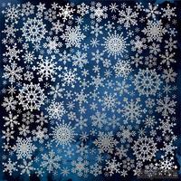 Лист односторонней бумаги с фольгированием Silver Snowflakes Night garden, ТМ Fabrika Decoru