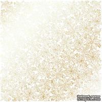 Лист односторонней бумаги с фольгированием Golden Poinsettia White, ТМ Fabrika Decoru