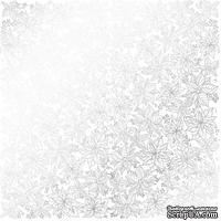 Лист односторонней бумаги с фольгированием Silver Poinsettia White, ТМ Fabrika Decoru