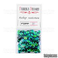 Набор пайеток - 209, размер 8 мм, кружочки, цвет зеленый, ТМ Фабрика Декора