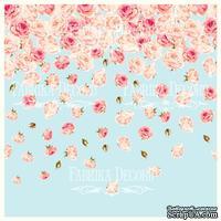 Деко веллум (лист кальки с рисунком) Розы на голубом 1, ТМ Фабрика Декора