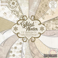 Полный набор новогодней бумаги от First Edition - Gilded Winter, 20х20 см, 48 листов