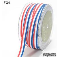 Лента с полосками, цвет:красный/белый/голубой, ширина 2 см, длина 90 см