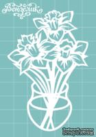 Чипборд от Вензелик - Ваза с цветами 05, размер: 59x88 мм