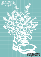 Чипборд от Вензелик - Сапожок с цветами 02, размер: 85x125 мм