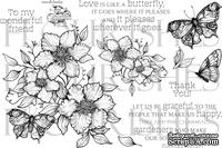Набор акриловых штампов от Flourishes - Butterflies & Blossoms
