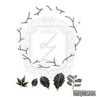 Акриловый штамп Lesia Zgharda FL090 Веночек с листочками, набор из 6 штампов