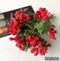 Веточки с ягодками, цвет красный, 12 штук, B63129