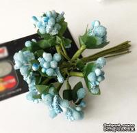 Веточки с ягодками, цвет голубой, 12 штук