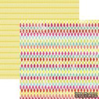Лист скрапбумаги My Mind's Eye Rainbow Harlequin, 30х30 см, двусторонняя