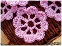 Вязаный цветок ручной работы, цвет розовый, 5,5см, 1шт.