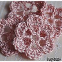Вязаный цветок ручной работы, цвет персиковый, 4,5см, 1шт.