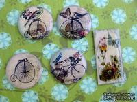 ЦЕНА СНИЖЕНА! Фишки для скрапбукинга с эпоксидным покрытием Птицы Велосипеды