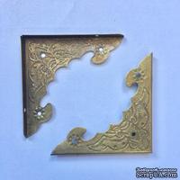 Уголок накладной металлический для декорирования, 40х40х56мм, античное золото, 1 деталь