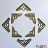 Набор накладных металлических уголков, цвет старая латунь, 41х5,5мм, 4 шт.