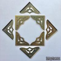 Набор накладных металлических уголков, цвет старая латунь, 35х5мм, 4 шт.