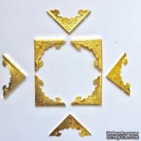 Набор металлических уголков, цвет золото, 4х40мм, 4 шт.
