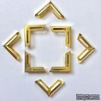 Набор металлических уголков, цвет золото, 20х20х5мм, 4 шт.