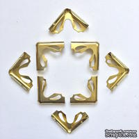 Набор металлических уголков, цвет золото, 23х23х6мм, 4 шт.
