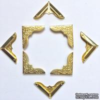 Набор металлических уголков, цвет золото, 24х24х3мм, 4 шт.