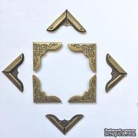 Набор накладных металлических уголков, цвет старая латунь, 24х24х3мм, 4 шт.