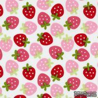 Ткань 100% хлопок - Клубнички красно-розовые на белом, 45х55 см - ScrapUA.com
