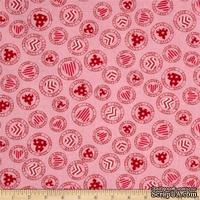 Ткань 100% хлопок - Сердечки в кружочках на розовом, 45х55 см
