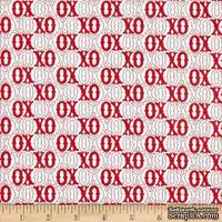 Ткань 100% хлопок - Любовь XOXO красное на белом, 45х55 см
