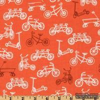 Ткань 100% хлопок - Велосипеды на оранжевом, 45х55 см