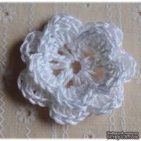 Вязаный цветок ручной работы, двухъярусный, цвет белый, 5см, 1шт.