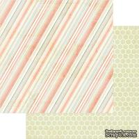 Лист скрапбумаги My Mind's Eye -  Be Happy Striped Pink, 30х30 см, двусторонняя