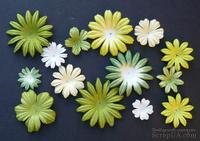Набор цветов зеленого и белого оттенков,  20-50 мм, 20 шт.