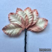 Набор бумажных листьев розы, цвет - 2-тоновый белый/розовый, 35 мм, 10 шт