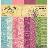 Набор двусторонней скрапбумаги Graphic 45 - Bloom Patterns and Solids Pad, 30х30 см, 16 листов