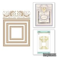 Пластины для фольгирования от Spellbinders - Crowned Rimmed Squares Glimmer Hot Foil Plate Royal Flourish by Becca Feeken - ScrapUA.com