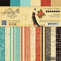 Набор двусторонней скрапбумаги Graphic 45 - Couture Patterns and Solids Pad, 15х15 см, 12 листов