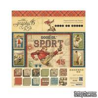 Набор скрапбумаги Graphic 45 - Good Ol Sport - Pad, 30х30 см, двусторонняя, 12 листов