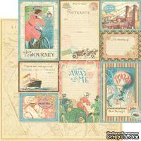 Лист скрапбумаги Graphic 45 - Come Away With Me - Vintage Voyage, двусторонняя, 30х30 см