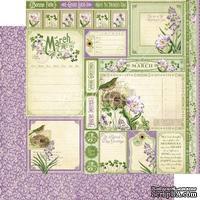 Лист бумаги Graphic 45 - Time to Flourish - March Cut Apart, размер 30х30 см, двусторонняя
