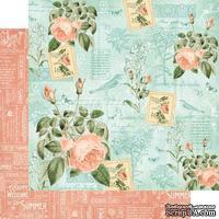 Лист бумаги Graphic 45 - Time to Flourish - June Flourish, размер 30х30 см, двусторонняя