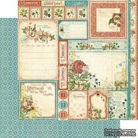 Лист бумаги Graphic 45 - Time to Flourish - July Cut Aparts, размер 30х30 см, двусторонняя