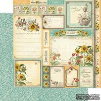 Лист бумаги Graphic 45 - Time to Flourish - August Cut Apart, размер 30х30 см, двусторонняя