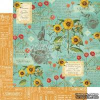 Лист бумаги Graphic 45 - Time to Flourish - August Flourish, размер 30х30 см, двусторонняя