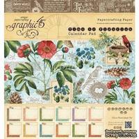 Набор двусторонней бумаги Graphic 45 - Time to Flourish - Calendar Pad, размер 20х20 см, 12 листов - 1/2 набора