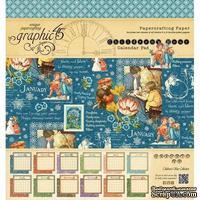 Набор двусторонней бумаги Graphic 45 - Children's Hour - Calendar Pad, размер 20х20 см, 12 листов