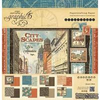 Набор двусторонней бумаги Graphic 45 - Cityscapes - Pad, размер 30х30 см, 8 листов