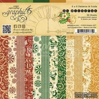 Набор скрапбумаги Graphic 45 - St Nicholas - Patterns and Solids Pad, 15х15 см, двусторонняя, 12 листов