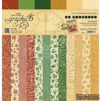 Набор скрапбумаги Graphic 45 - St Nicholas - Patterns and Solids Pad, 30х30 см, двусторонняя, 12 листов